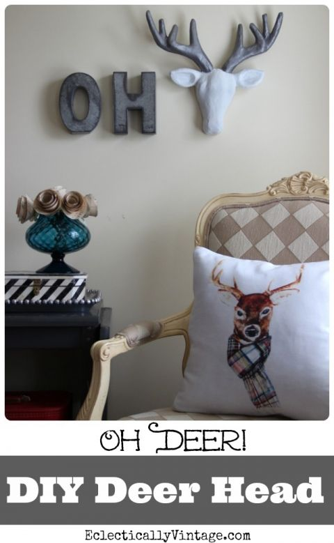 Oh Deer! Make this fun gilded DIY Deer Head! eclecticallyvintage.com