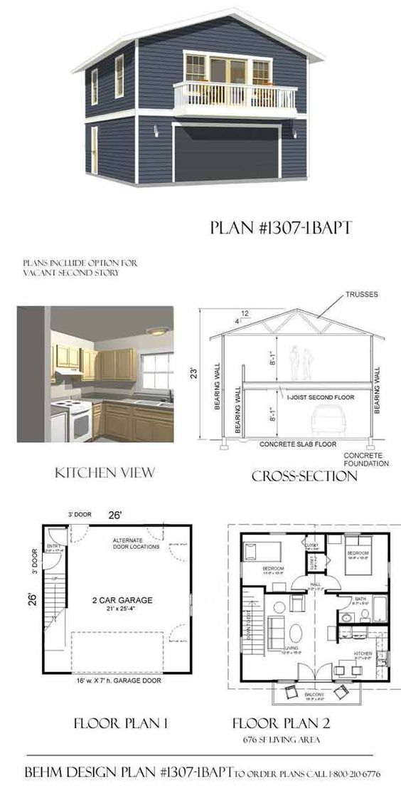 Apartment garage plan 2 car with balcony by for House plans with garage on side