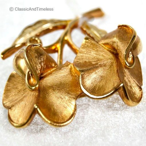Vintage Trifari Flowers Gold Tone Pin Brooch by EtsyClassic, $75.00