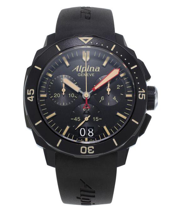 Alpina Seastrong Diver 300 Chronographe Big Date Noir.