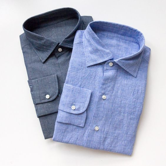 washed indigo linen chambray, blue micro-gingham linen, from luxire
