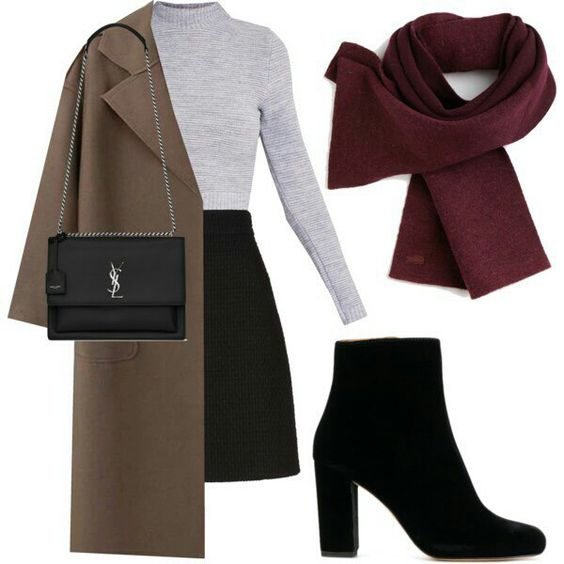 Falda negra, polera gris, chalina guinda y abrigo beige.