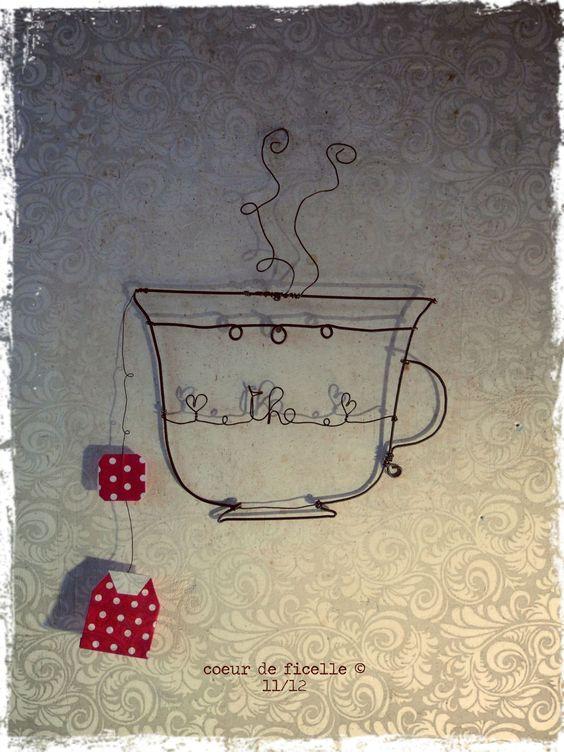 So sweet .... wirework teacup: