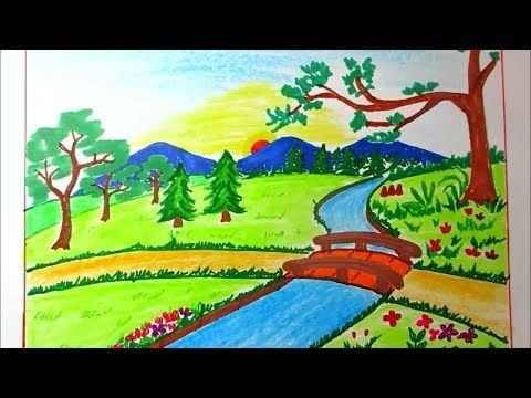 Drawing Landscape Of Mountain And River For Kids Scenery Drawing Channel 81 Youtube Art Drawings For Kids Drawing Scenery Landscape Drawings