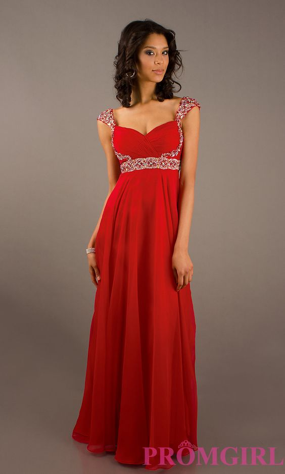 Long Cap Sleeve Prom Dress, Beaded Cap Sleeve Prom Gown- PromGirl