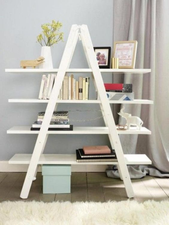 40+ Impressive Bookshelf Styles Made from Repurposed Ladders | Home Inspiring