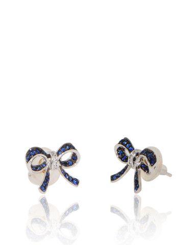 Unique, Bow Earrings, Blue SapphiresDiamonds, 18k white gold
