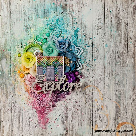Ja tu scrapuję!: Flower-power; rainbow scrapbooking page, layout featuring lots of Prima Marketing flowers