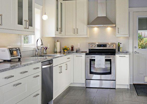 White Kitchen Ikea grimslov off-white. i like the countertops too. | home reno