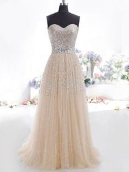 Online Shop New Ready To Ship In Stock For Champangne Color Sweetheart Organza Formal Evening Dress Long With Sequined Vestido Free Shipping|Aliexpress Mobile