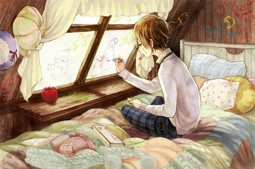 ✮ ANIME ART ✮ anime. . .artist. . .boy. . .bedroom. . .window. . .crayons. . .drawing on walls. . .cute. . .kawaii: