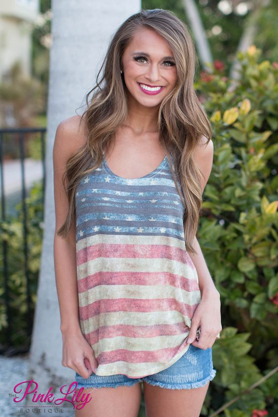 Show your pride in this super cute tank! We love the colors and american flag look! It's perfect to wear for Fourth of July or for an easy, everyday look!: