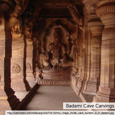 The Badami cave temples are a complex of temples located at Badami, a town in the Bagalkot District in the north part of Karnataka, India. They are considered an example of Indian rock-cut architecture.The temples are composed of four caves, all carved out of the soft Badami sandstone on a hill cliff in the late 6th to 7th centuries.