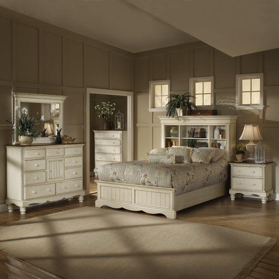 Bookcase Bedroom Sets #29: Hillsdale Furniture 1172 Wilshire Bookcase Headboard Bedroom Set, Antique White - ATG Stores