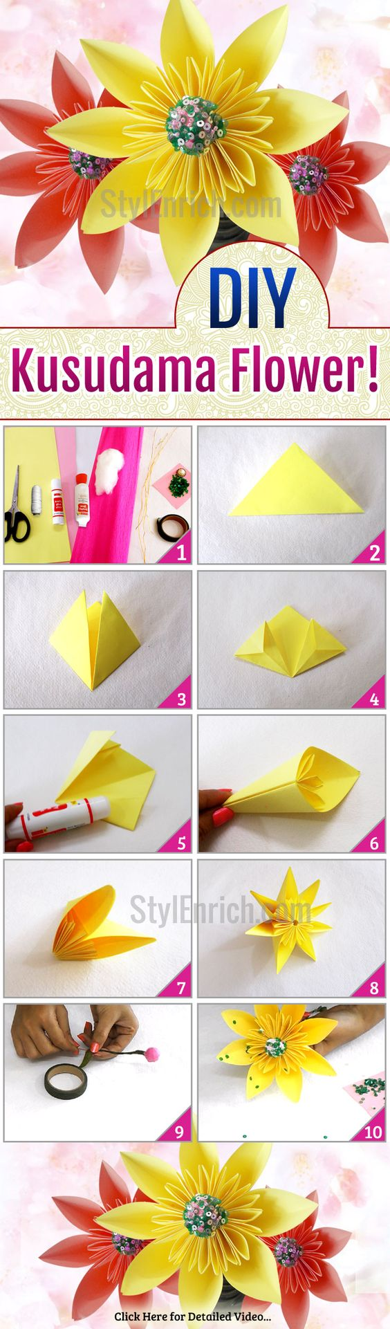 Want to know how to make beautiful & super easy #DIYPaperFlowers? Here are the step by step instructions to understand how to make easy paper flowers. Enjoy this DIY #Origami Kusudama flowers making and decorate your home with this stunning paper craft idea!: