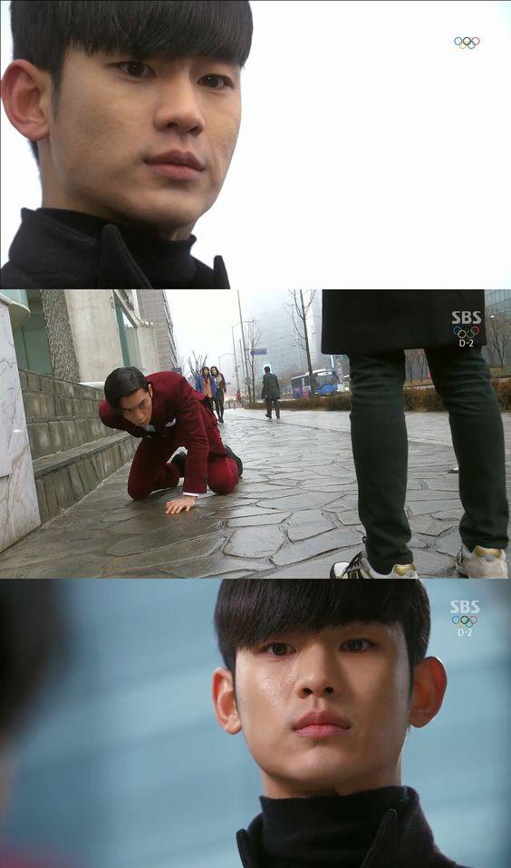 """Min Joon enfurecido lo deja caer y a unos metros del piso lo detiene: """"Reza por que Chun Song Yi esté bien. Si algo le llega a suceder, voy a regresar para matarte. Dijiste que tienes mucho que perder. Sabrás lo que se siente perderlo todo, uno por uno. Y llegado el momento, te haré perder todo. Sabrás lo que es la destrucción total"""". Jae Kyung: """"¿Cómo te atreves?"""". Min Joon: """"¡¿Cómo te atreves?! Voy a demostrarte quien se atrevió a enfurecer a quien"""" - My Love From Another Star, Episodio 14"""