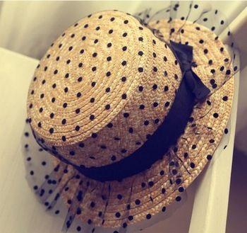 2015 de malla de encaje arco de los puntos de sombreros de paja para mujeres princesa verano de ala ancha sol sombreros viajan sombrero del cubo de playa MZ-022