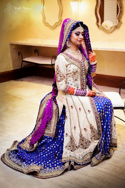 Indian wedding ideas inspiration vintage cream and for Cream and purple wedding dresses