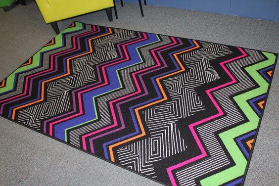 Neon classroom rug