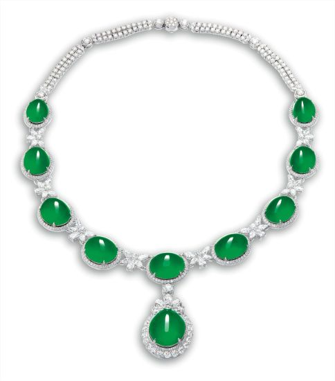 A Fine Jadeite Cabochon And Diamond Necklace Jade Necklace Necklace Diamond Necklace