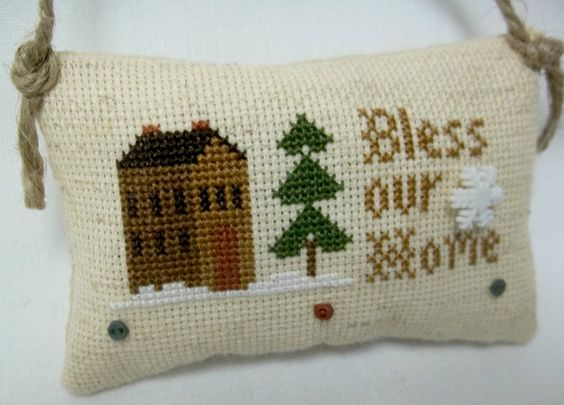 Bless Our Home Cross Stitched Ornament by luvinstitchin4u on Etsy