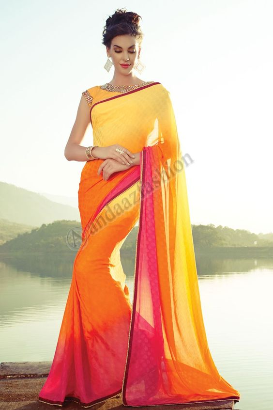 saree sari blouse satin saree chiffon satin yellow chiffon saree ...