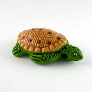 CC50-009 Turtle - Green with Brown Shell Clay Critters