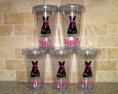 Nine Personalized Bridesmaids Gifts - 16 oz Glass Tumbler - wedding gifts - CHOOSE YOUR COLORS - wedding party gifts. $108.00, via Etsy.