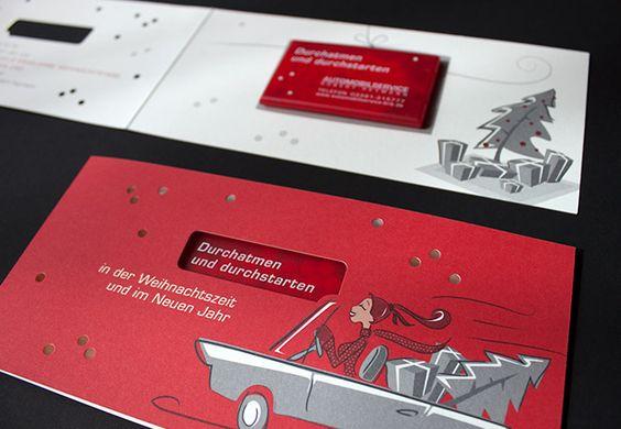 Illustrierte Weihnachtskarte mit Stanzung und Mint-Pastillen / Illustrated cut-out christmas card with mint dispenser for Automobilservice Robert Heymann / by FISCHUNDBLUME DESIGN, Berlin / http://www.fischundblume.de