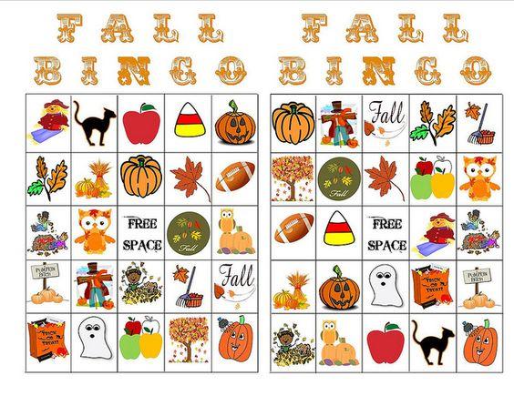 Refreshing image regarding fall bingo printable