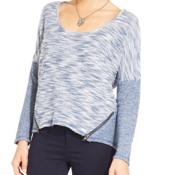 Knit lightweight sweater Cute Jessica Simpson Danielle Zip knit sweater. Low scoop neck, 2 zippers on front, new with tags. Jessica Simpson Sweaters Crew & Scoop Necks
