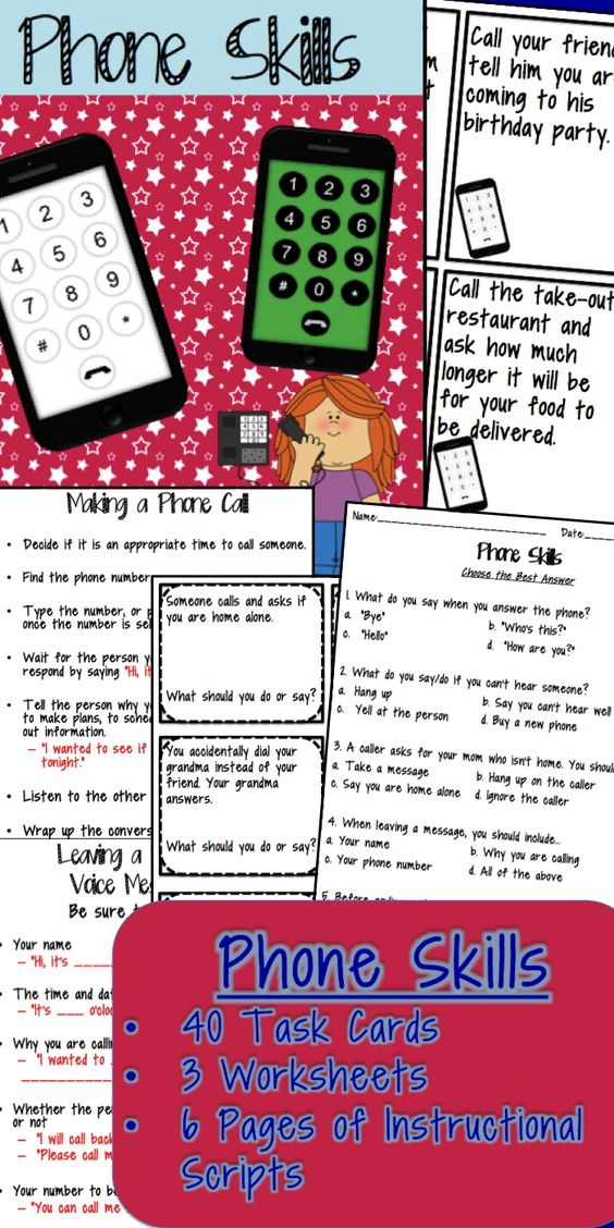 Phone Skills Fun! Problem solving/role-playing task cards, worksheets and instructional scripts for teaching essential life skills! $: