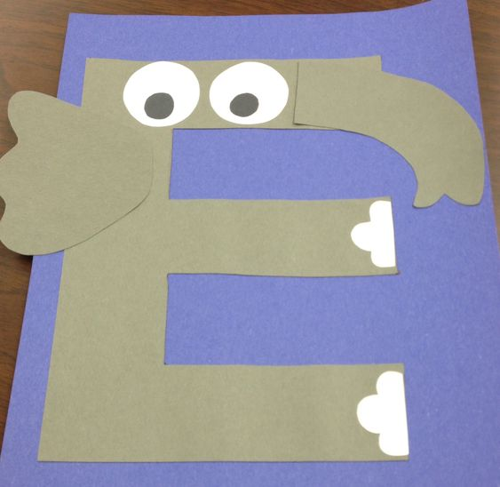 E for elephant craft e is for letter of the week for Elephant template for preschool