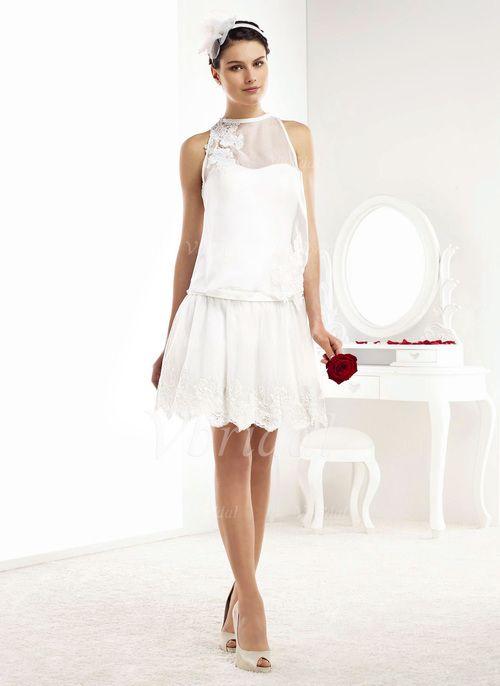 Brautkleider - $126.47 - A-Linie/Princess-Linie U-Ausschnitt Knielang Chiffon Brautkleid mit Rüschen Spitze Applikationen Spitze (0025060187)