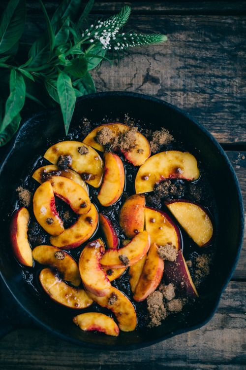 sweetoothgirl: Cornbread with Peaches and Bourbon Syrup (Dairy...