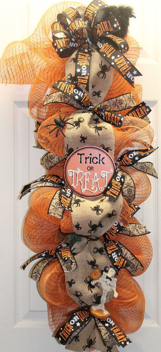 Trick or Treat Halloween maille jute Swag