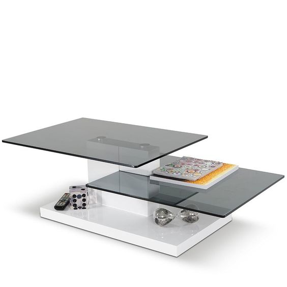 Modern White Coffee Table with Two Glass Tops