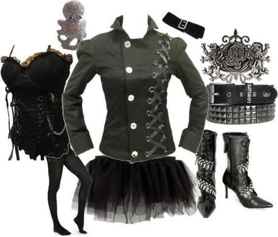 """Girly goth."" by superskunkgirl ❤ liked on Polyvore"