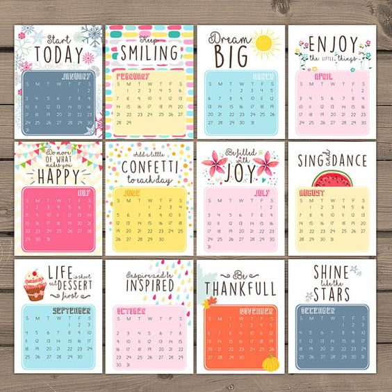 Calendar Quotes For Every Month : A cheerful printable calendar for full with hand