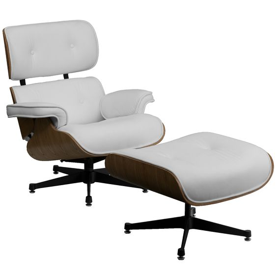 Presideo Top Grain Italian Leather Lounge Chair and Ottoman in White $799