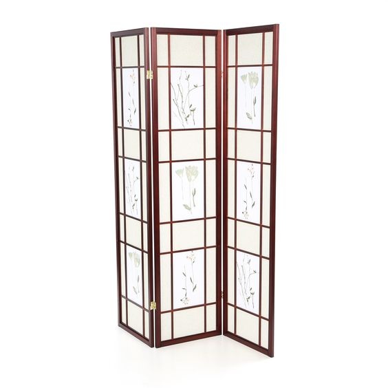 3 panel cherry room divider shoji with floral screen room dividers screens and cherries - Shoji room divider ...