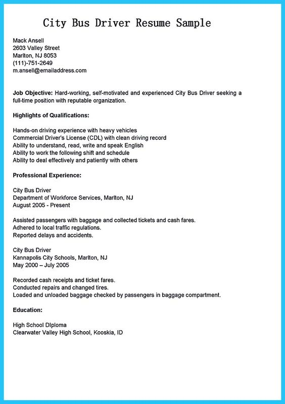 sample bus driver resumes converza co