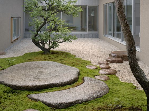 #landarch #peymim Credit: DK - Garden Design © 2009 Dorling Kindersley Limited Gravel and Stones In this contemporary courtyard, carefully chosen rocks and stones form a sculptural route across gravel and moss. The vertical lines of the trees offer a balancing contrast.:
