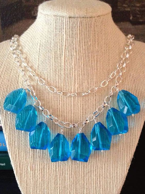 Blue Glass Statement Necklace by SweetLotusJewelry on Etsy