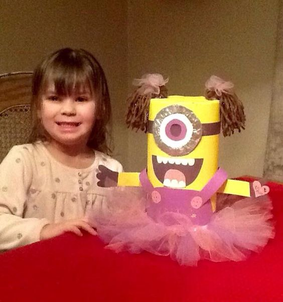 Girl Minion Valentine Box Made Out Of An Oats Container! | Valentines Day |  Pinterest