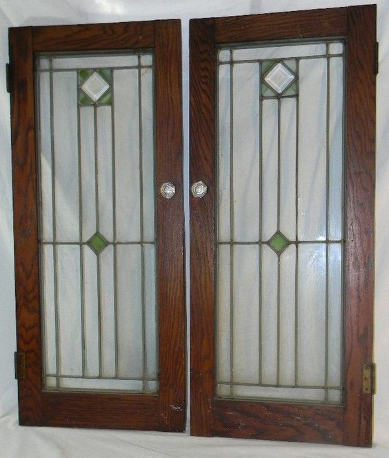 2 Antique Oak Stained Leaded Glass Cabinet Bookcase Doors Arts Crafts  Mission | Antiques, Architectural u0026 Garden, Stained Glass