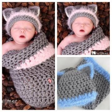 Newborn Crochet Cat Hat Pattern : Newborn Kitty Cocoon, Crochet Cocoon Kitty cats, Baby ...