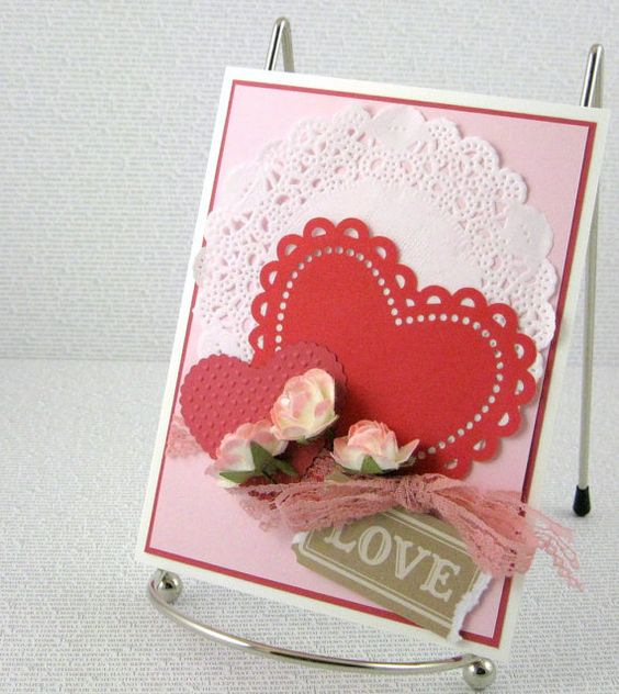 handmade valentines day card romantic roses by papercraftlady on etsy