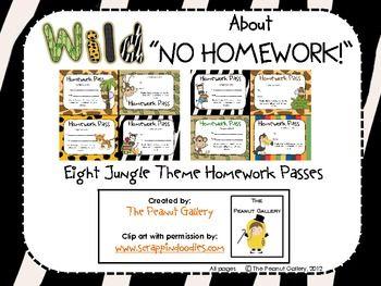 FREE! Jungle theme homework passes.