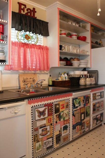 Budget kitchen redo under 50 with decoupaged cabinets for Artistic kitchen cabinets